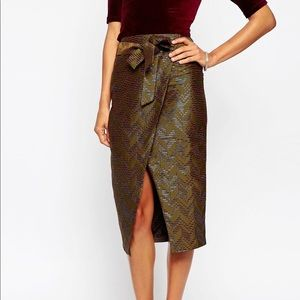 NEW ASOS Wrap Pencil Skirt in Chevron Jacquard